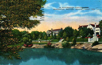 Postcard of a residential area on a lake