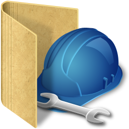 folder, hard hat, and tools cartoon