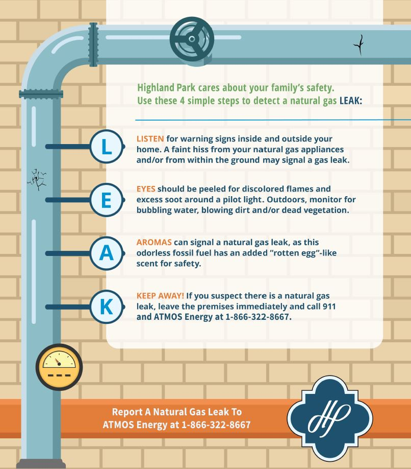 How to spot a natural gas leak infographic