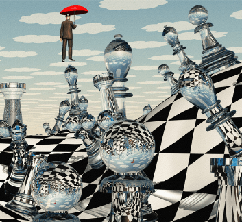 surreal art image of a warped chess board with glass pieces, and a man floating with an umbrella