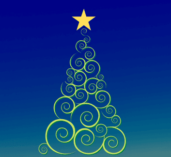 swirled evergreen tree with a star at the top, dark blue background
