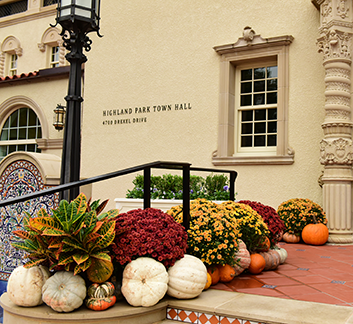 Photo of Town Hall decorated with pumpkins