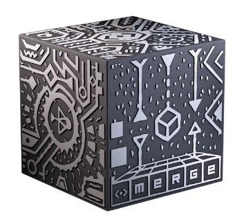 Black cube with silver writing and images