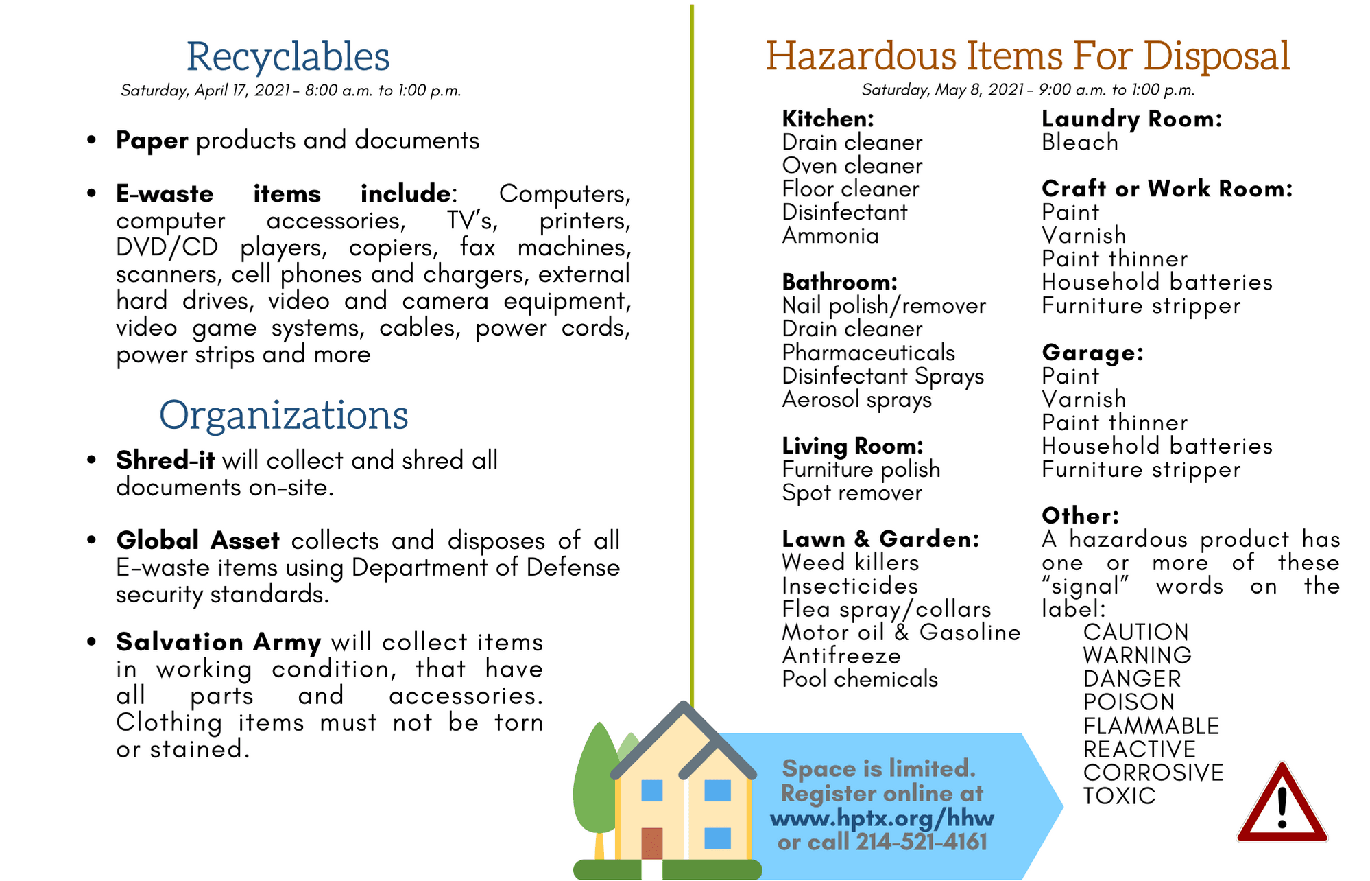 Image of information of what tiems are hazardous in your home