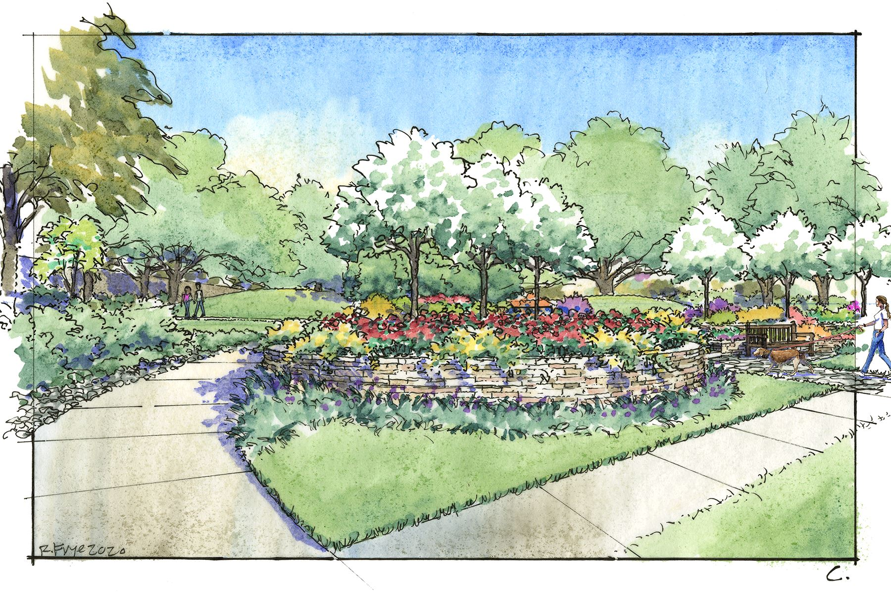 An artist watercolor drawing of a park with side walks flowers and two people walking